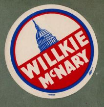 Willkie McNary old USA political campaign paper label RARE  #031